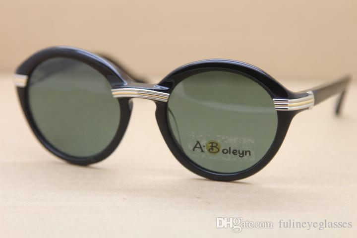 도매 판매 빈티지 1991 원래 라운드 판자 선글라스 1125072 패션 망 태양 안경 C 장식 골드 프레임 크기 : 52-22-135mm