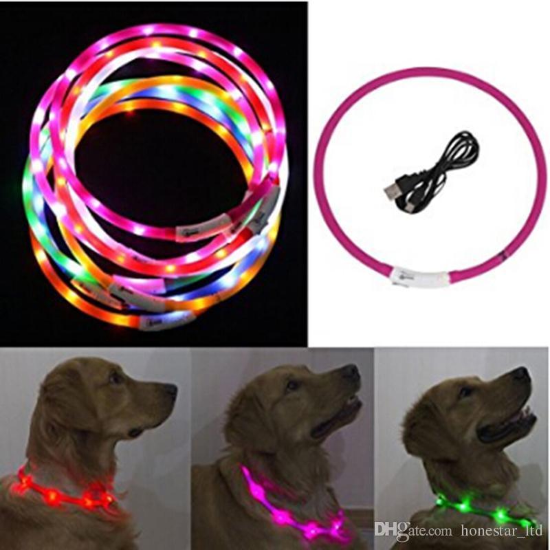 Discount Usb Luminous Led Dog Collar Flashing Night Light Charging #1: usb luminous led dog collar flashing night