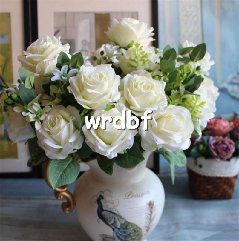 "Silk Spring Rose 45cm/17.75"" Length Artificial Flowers Roses Camellia 11 heads bunch for for DIY Bridal Bouquet Accessories"