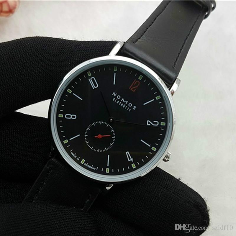 2016 Nueva Marca NOMOS cuarzo del reloj de los amantes de los relojes de las mujeres de los hombres viste los relojes de pulsera de cuero de vestir de moda los relojes ocasionales