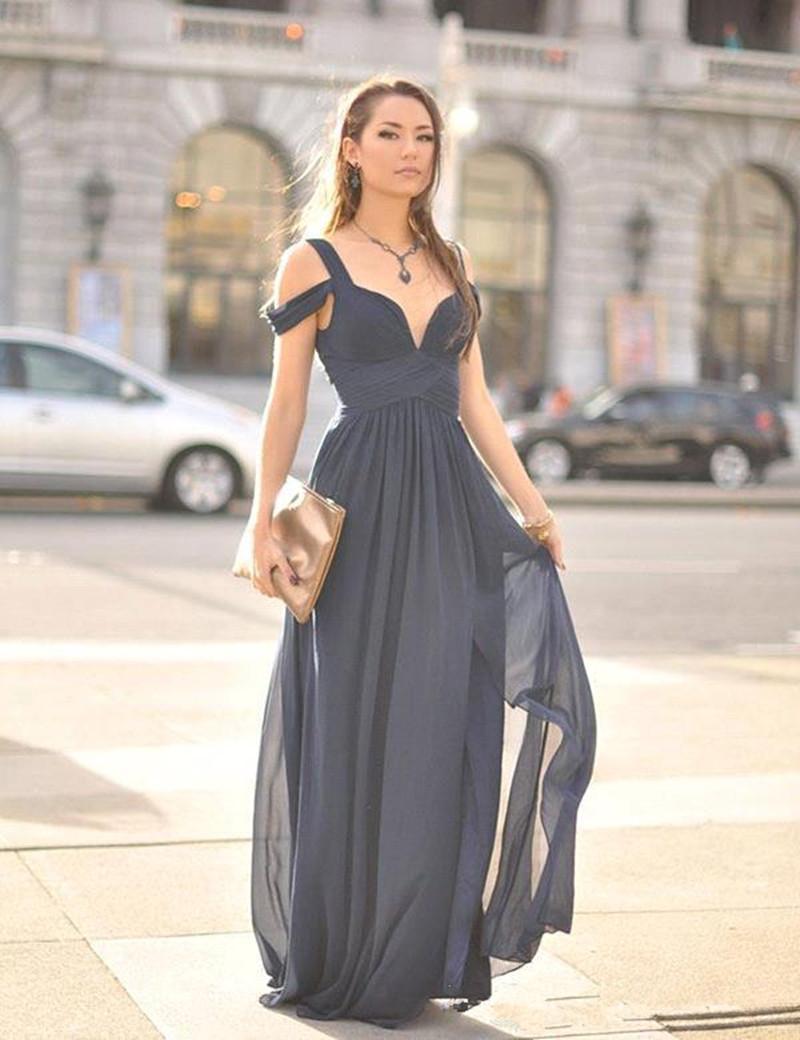Новый элегантный стиль темно-синее вечернее платье с плеча плиссированные шифон длиной до пола, длинные платья партии 2019 Высокое качество на заказ
