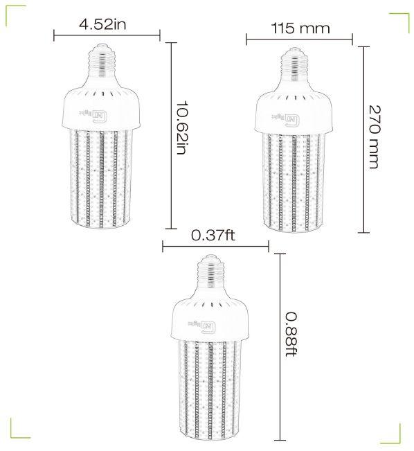 E40 100W 13442.61Lm high power warm white natural white cool white led torch light street light retrofit fin corn bulb