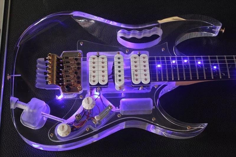 brand new acrylic electic guitar with led transparent body and maple neck gutiar elelctric. Black Bedroom Furniture Sets. Home Design Ideas
