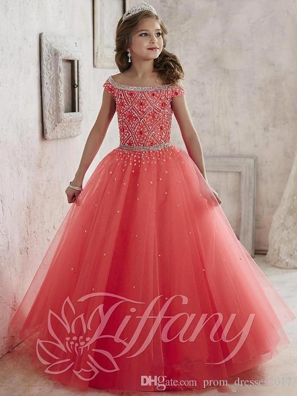 Las niñas pequeñas desfile Vestidos de Nueva Hombro perlas de cristal de Coral de tul vestido de fiesta formal para adolescentes Flores muchachas de los cabritos Vestidos HY1189