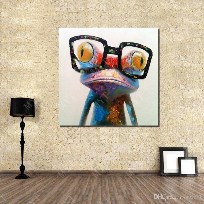 Abstract Animal Frog Wear Glasses Canvas Wall Art Oil Painting Hand painted Picture Wall Art Oil Painting on Canvas Reproduction