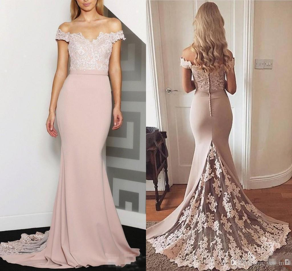 Bridesmaid Dresses 2017 New Cheap Off Shoulder Long Peach For Weddings Lace Appliques Mermaid Plus Size Formal Maid of Honor Gowns Under 100