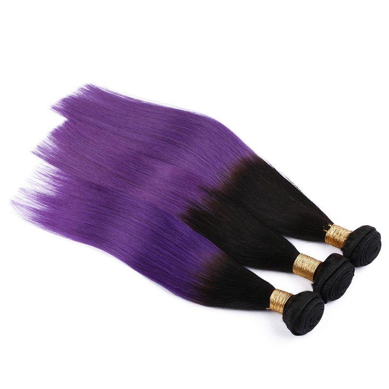 1B/Purple Ombre Straight Hair 3 Bundles Brazilian Straight Human Hair Colored Two Tone Ombre Brazilian Hair Weaves 300G
