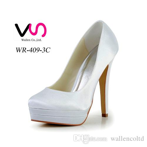 2016 High Heel Handgemachte Doppel Plattform Plain Style Elfenbein Weiße Farbe Großhandel Frauen Braut Hochzeit Schuhe Made in China von Größe 35-42