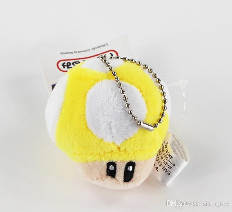 "Hot Sale Super Cute Mario Bros Mushroom With Key Chain Plush Doll 2.5"" Toy doll"