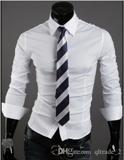 2016 VSKA new spring business shirts wild solid color Slim casual men pointed collar long-sleeved shirt