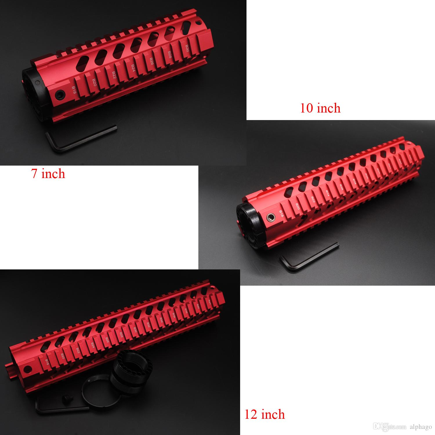 New Chinese Red 7'' 10'' 12'' Length Quad Rail Handguard Fit .223 / 5.56 Rifle Picatinny Rail Mount Free Float System
