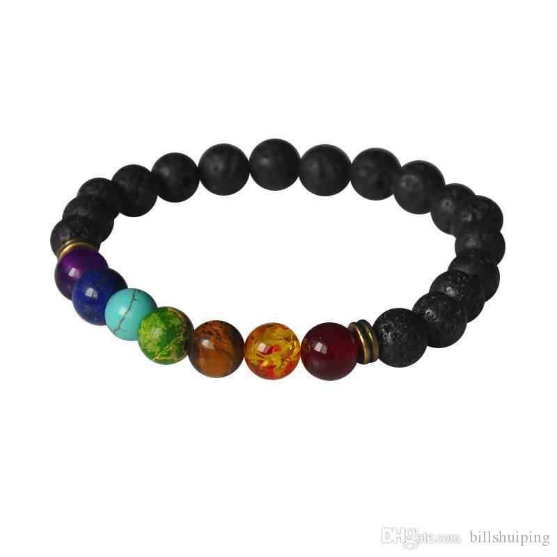Venda quente nova moda pedra natural forma redonda contas de pedra de lava chakra cura frisado pulseiras jóias presente