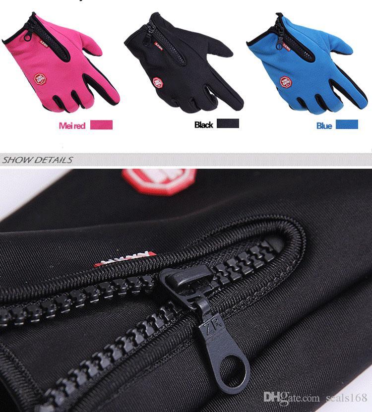Yeni Dokunmatik Ekran Rüzgar Geçirmez Su Geçirmez Açık Spor Eldiven Erkek Kadın Kış Çalışma Bisiklet Kayak Sıcak eldiven JS-G01