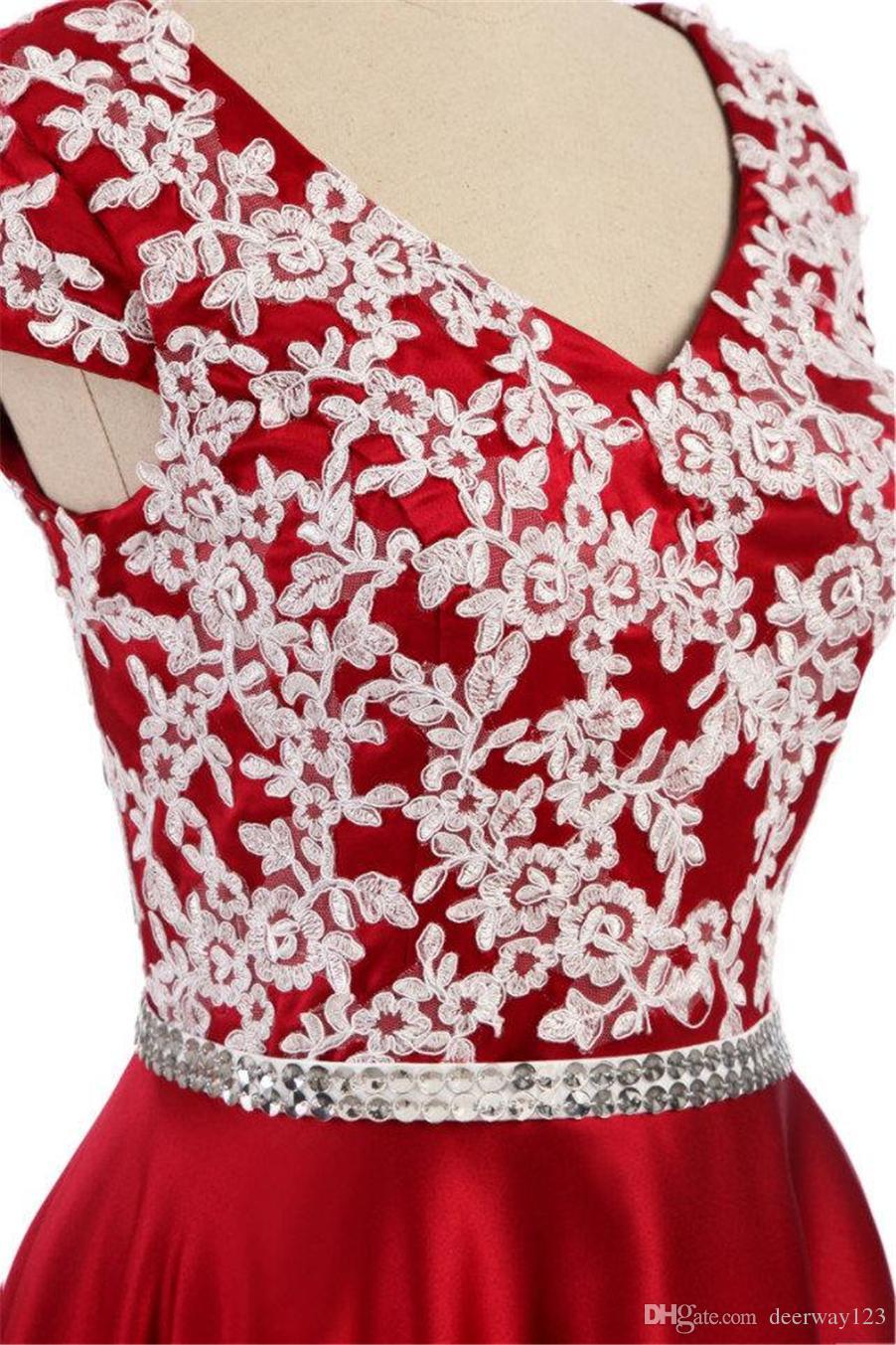 Reals robes de bal rouge 2019 plus la taille col en V dentelle manches courtes longues robes de soirée élégantes robes de soirée en satin