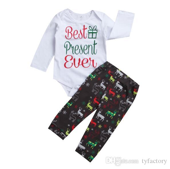 40dfa40ee Christmas kid clothing 3pcs sets Newborn Infant baby boy girl  Romper+coloful deer pants+Hat Baby boys girls Bodysuits outfits snow gift
