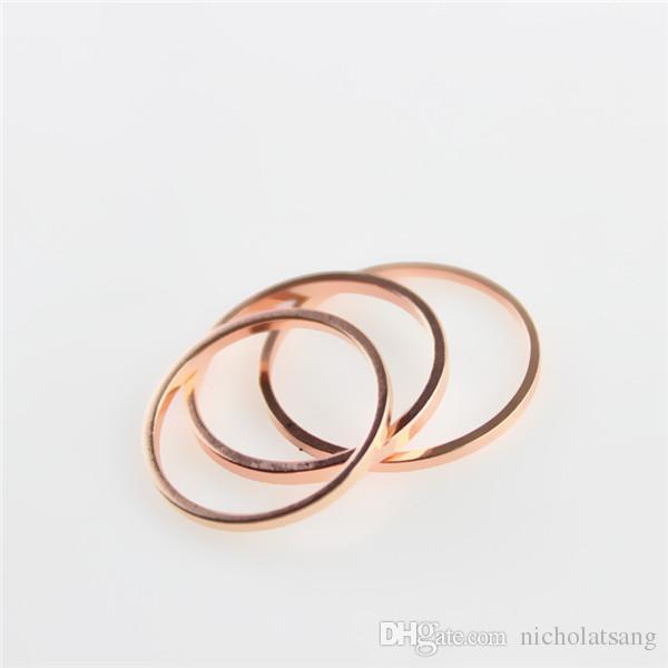 10 unids Elegante 18 K chapado en oro rosa anillos de la banda simple señora del dedo del dedo del pie del anillo en blanco al por mayor de las mujeres desgaste diario accesorios oro / plata