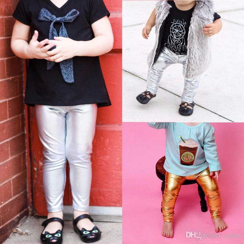 ed2b805b9d1b5 Kid Leather Pants Girl Legging Baby Girls Boys Pants Autumn Kids Skinny  Slim Gold Black Silver New Black Slacks For Kids Ski Bibs For Youth From  Gomo, ...