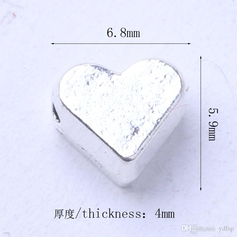 Heart Spacer beads Fit Bracelets or Necklace charms Antique Silver/bronze pandents DIY jewelry 3037z