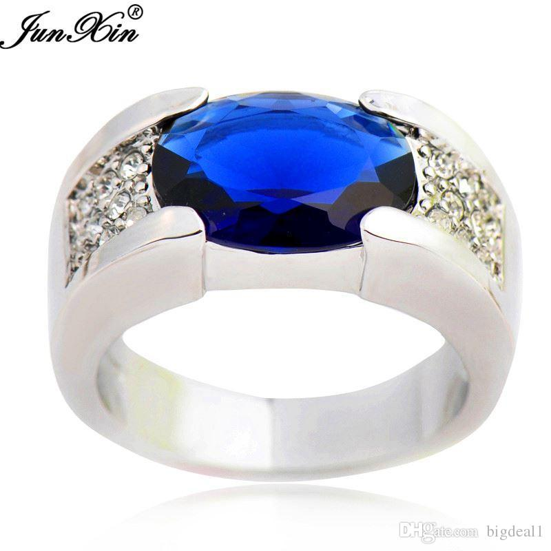 New Oval Design Blue Male Crystal Cz Ring 10kt White Gold Filled