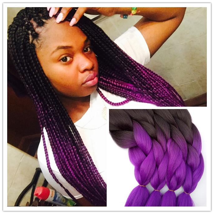 Hot Sale 1b Purple Two Tone Ombre Box Braiding Hair