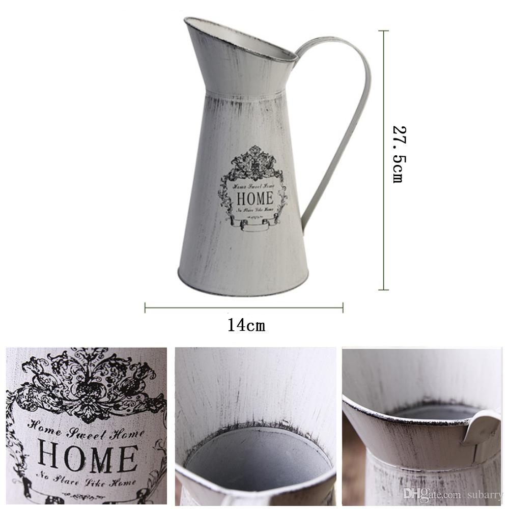 French Style Country Rustic Primitive Jug Vase Watering Can Metal Flower Planter Decoration Vase for Bar Cafe Wedding Party Home Decoration