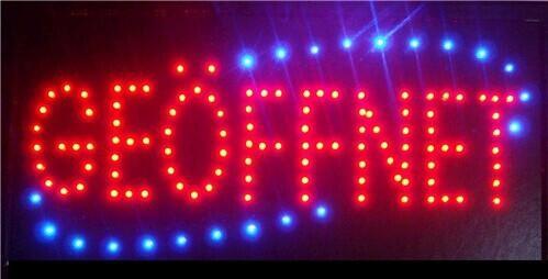 2016 venta caliente de baja potencia 10 * 19 pulgadas semi al aire libre ultra brillante LED de marcha geöffnet señales de luz LED vallas publicitarias mayorista