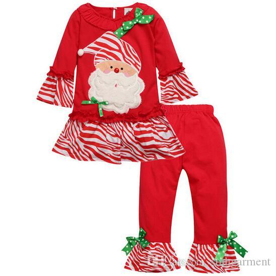 ecc0af3ad7b4 2016 Baby Girls Boys Santa Christmas Pajamas Set Kids Long Sleeve ...