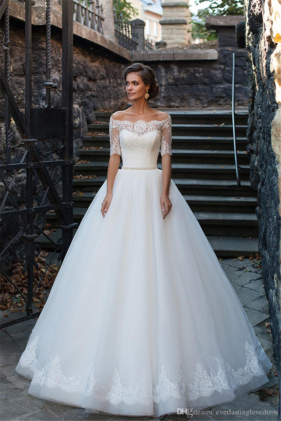 Off The Shoulder Lace and Tulle Ball Gown Beading Sash Wedding Gown Hand Tie Back Button Bridal Gowns Sweep Train vestido