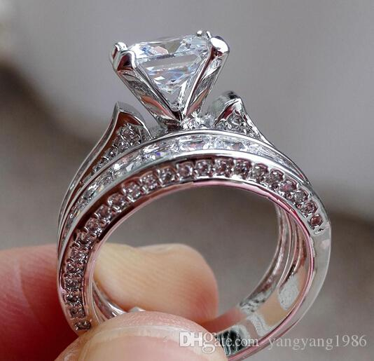 Victoria Wieck De Luxe Bijoux Princesse coupe 7.5mm Blanc Saphir 925 Argent Simulé Diamant De Fiançailles De Mariage Party Femmes Anneaux Taille 5-10