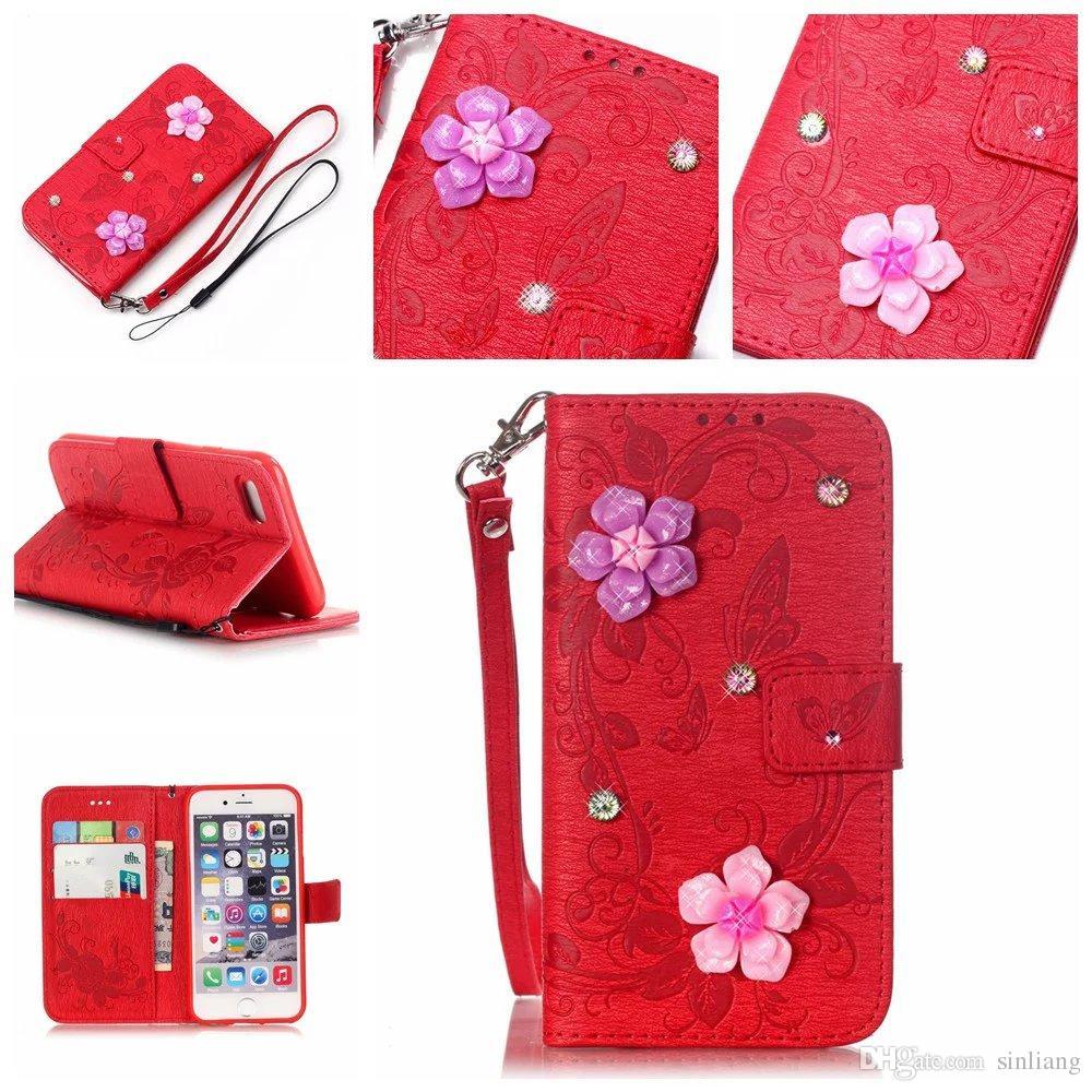 Custodia a portafoglio Custodia Custodia in pelle con fiore farfalle a forma di Iphone 7 Custodia a rilievo Custodia in pelle carte con custodia iPhone 5,6,7