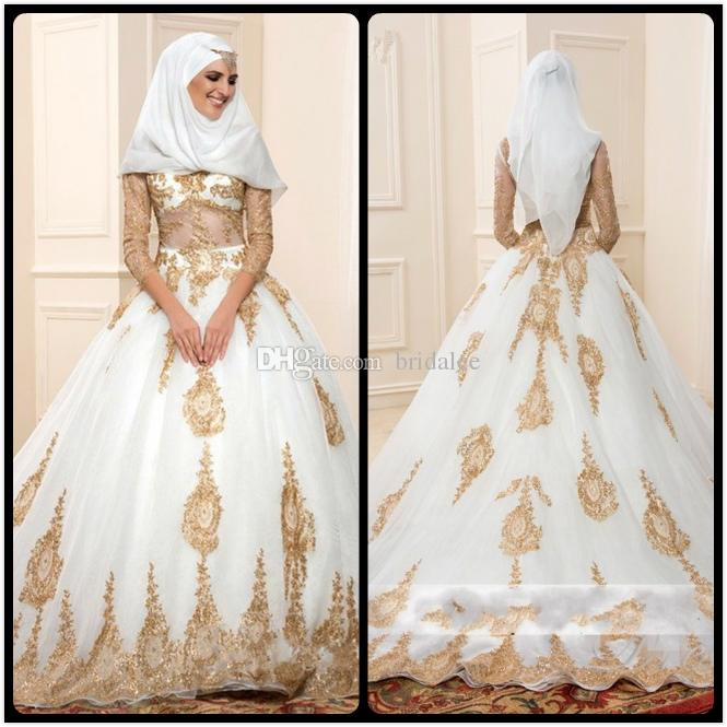 Discount 2017 gold and white islamic wedding dresses vestido de discount 2017 gold and white islamic wedding dresses vestido de noiva ball gown turkey with three quarter sleeves lace bridal gowns best bridal dresses junglespirit Image collections