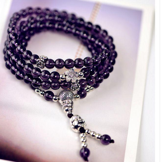 Améthyste naturel rire Bouddha 108 Bracelet Améthyste brésilienne Bouddha Bouddha Gardien amour x61