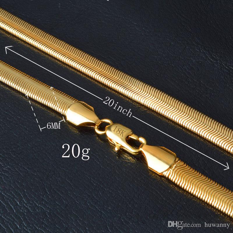 Goldene Ketten-Halskette-heißen Verkauf-6mm Gold-Schlange-Kette Männer Halskette für Partei-Geschenk Modeschmuck Großhandel Versandkosten - 0179YDHX