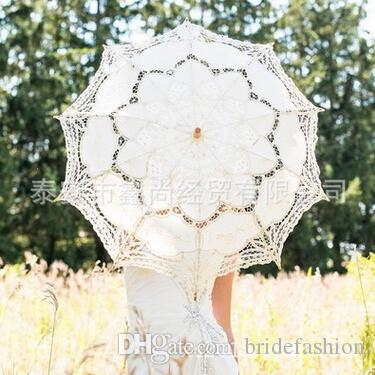 Ombrello da sposa bianco avorio damigella d'onore pizzo in cotone fatto a mano vintage manico in legno superficie raggio 18 pollici lunghezza ombrello 26 pollici