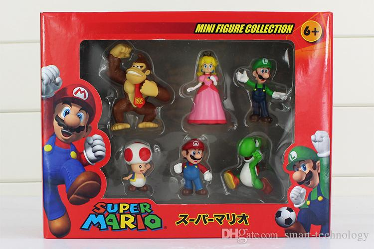 Super Mario Bros Peach Toad Mario Luigi Yoshi Donkey Kong PVC Action Figure Toys Square Box of set