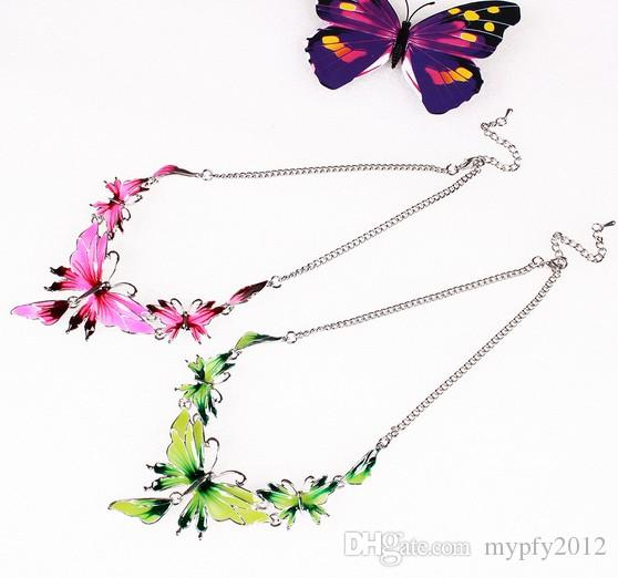 Fashion Crystal Jewelry Set Butterfly Enamel Jewelry Statement Necklace Set Earrings for Women Jewelry Sets QD