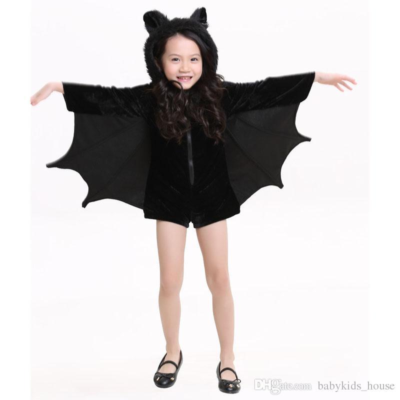 Neue Kind Tier Cosplay Nette Fledermaus Kostüm Kinder Halloween Kostüme Für Mädchen Schwarz Reißverschluss Overall Connect Wings Batman Kleidung