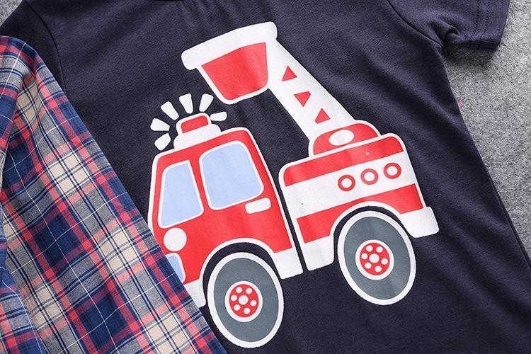 Boys kıyafetler bahar sonbahar çocuk çocuğun nazik elbise uzun kollu gömlek + pamuk arabalar T-shirt tops + askı genel denim kot 3 adet setleri