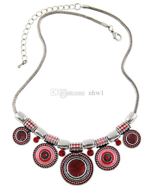 Bohemia Vintage Metal Enamel Statement Necklace Women Ladies Multicolor Necklaces & Pendants Jewelry Colar For Gift Party