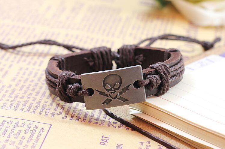 Hot Sale Holloween Party Jewelry Alloy Skull Head Charm Bracelet Adjustable Leather Belt Bracelets Punk Bangle Bracelet