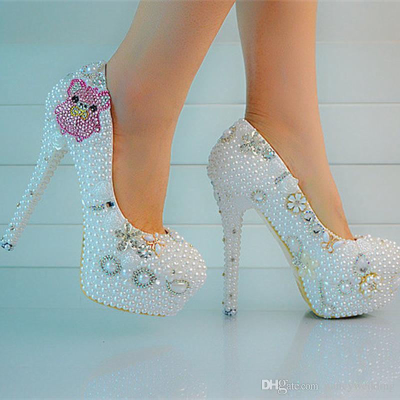 Yeni Stil Lover Domuz Taklidi Düğün Ayakkabı Beyaz Inci Gelin Yüksek Topuklu Resmi Elbise Ayakkabı Artı Boyutu Platformu Parti Balo Pompası