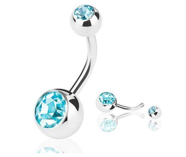 Nuevos anillos del ombligo del acero inoxidable anillos del ombligo Crystal Rhinestone Piercing del cuerpo barras Jewlery para mujeres bikini moda joyería