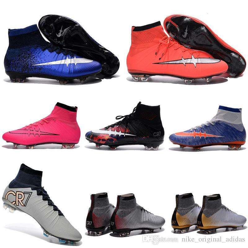 2016 New Children High Top Soccer Cleats Cr7 Superfly Fg Assassin 10  Football Boots Kids Boys Girls Soccer Shoes Superfly Size Blue 35 46 Boys  Tennis Shoes ...