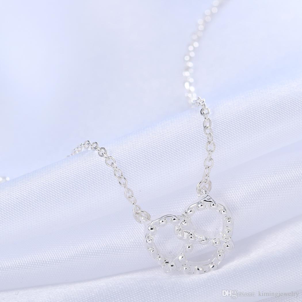 / Chic Simple Bretzel Colliers Pendentifs Vintage Argent Or Amour Coeur Colliers Cadeaux De Noël Pour Femmes Amie
