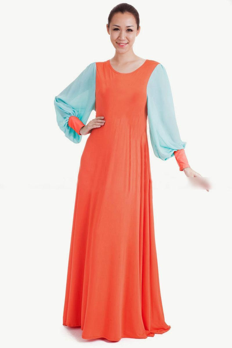 fdca8c8fb436 2019 Nice Women Muslims Long Sleeve Maxi Dresses Fashion Milk Silk Chiffon Gown  Dress Islamic Woman Clothing From Losangelesd, $43.92 | DHgate.Com