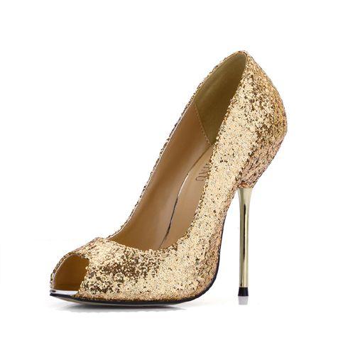 CHMILE CHAU Spring Glitter Sexy Wedding Party Women Single Shoes Stiletto  Iron High Heel Peep Toe Fashion Bridal Ball Ladies Pumps 3845 A4 Boat Shoes  Shoes ... a2a790a7088c