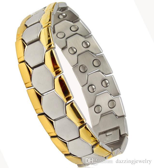 Large bande de haute qualité hommes bijoux énergie soins de santé bracelet magnétique fitness fitness avantage avantage santé bracelets 210 * 18 MM