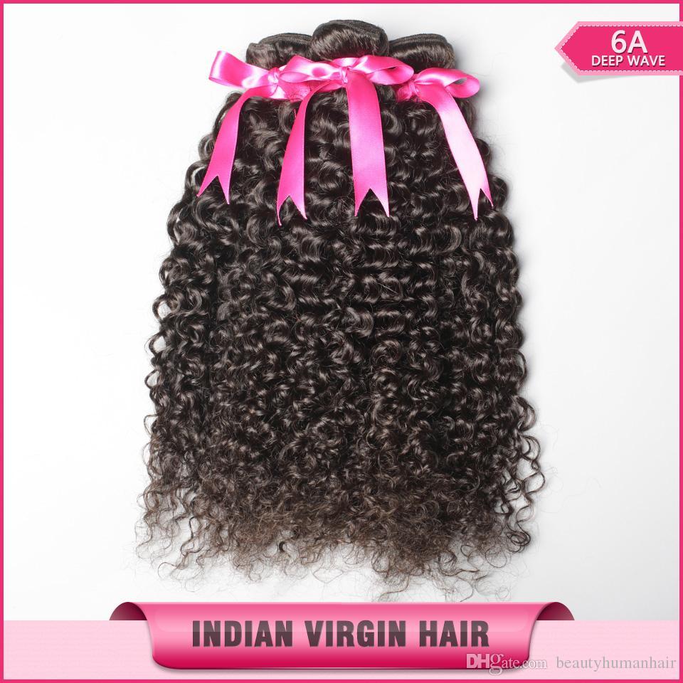 Indische verworrene lockige Haar-Webart unverarbeitete 6A natürliche Haar-Erweiterung 8-30inch Bundles / geben Verschiffen frei