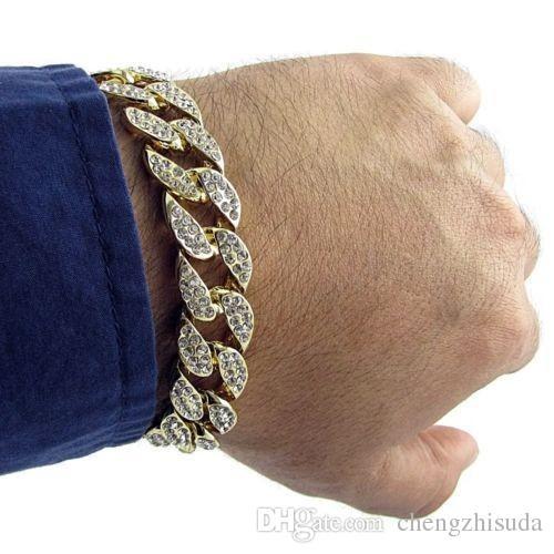Männer Luxus Simulierte Diamant Armbänder Armreifen Hohe Qualität Vergoldet Iced Out Miami Kubanischen Armband 6/7/8/9/10 zoll