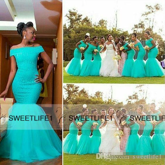 Piso-longitud negra atractiva larga de las muchachas de los vestidos de damas de honor 2020 del hombro de tul de encaje Playa Jardín árabe criada africana de honor vestido